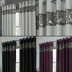 Tony's Textiles - Rio Curtain Panels with Grommets - Embroidered Sequins Border