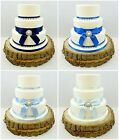 WEDDING CAKE SINGLE PEARL BROOCH – PEARLS & SATIN RIBBON CAKE TOPPER BLUES