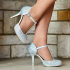 WOMENS SILVER DIAMANTE DETAIL HIGH HEEL STRAPPY EVENING PARTY SHOES SIZES 3-8