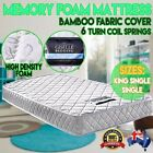 Luxury Single & King Single Matress Bamboo Fabric Sleeping Bed Memory Foam
