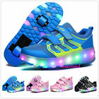Unise Kids LED Switchable Light  Skating Sneakers Wheel Roller Shoes