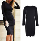Bodycon Long Sleeve Back Full Zipper Robe Sexy Femme Pencil Tight Dress US