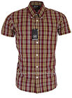 Relco Short Sleeve Bold Check Shirt CK25 - Burgundy - 60s Button Down Mod Skin