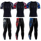 Mens Athletic Workout Set Gym Compression Outfits T-shirt Long Pants Sportswear