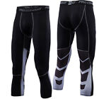 Mens Workout 3/4 Length Pants Soccer Jogging Running Skin Compression Trousers