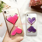 Cute Bling Flowing Giltter Love Hourglass Clear Back Case Cover For Cell Phones