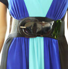 B009@ Funfash Plus Size Women Cinch Black Patent Leather Stretch Elastic Belt