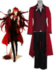 New Black Butler Grell Sutcliff Kuroshitsuji Red Death Cosplay Costume Male Suit