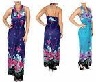 NEW Floral Blue Purple Empire BOHO MAXI TANK Halter DRESS Spaghetti Straps L XL