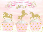 Golden Unicorn Fantasy Gold Birthday Party GLITTER cupcake cake Toppers Cup Cake