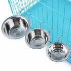 Stainless Steel Hanging Bowl Feeding Bowl Pet Bird Dog Food Water Cage Cup WP