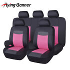 Pink Car Seat Covers Set Universal Fit 5 Seater Auto PU Leather Seats Protectors