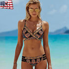 Women Boho Push-Up Padded Bathing Beachwear Bikini Set Bandage Swimsuit Swimwear