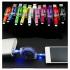 Retractable Glow LED USB Sync&Charger Cable Light-up USB Cable Glow For Phone
