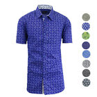 Galaxy by Harvic Men's Floral Button Down  Slim Fit Short Sleeve Shirt