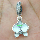 Orchid White Enamel Clear Orchid CZ 925 Sterling Silver Fit Charm Bracelet