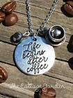 COFFEE Pendant Charm Necklace w/Healing Coffee Stripe Agate Natural Gemstone NEW