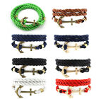 Women Men Unisex Multilayer Handmade Rope Wristband Anchor Bracelet Bangle