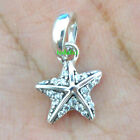 925 Sterling Silver Tropical Starfish Clear CZ Dangle Fit Charm Bracelet
