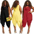 Summer Womens Plus Size Sexy Cowl Neck Romper Loose Fitted Baggy Harem Jumpsuit