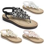 WOMENS LADIES FLAT LOW WEDGE SUMMER BEACH MEMORY FOAM SANDLES SHOES SIZES 3-8