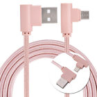 Nylon Braided 90 Degree USB 2A to Micro USB B Cable, Right Angle Double Micro 1M