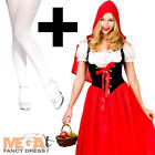 Red Riding Hood + Tights Ladies Fancy Dress Book Day Week Womens Adults Costume