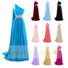 Stock One-Shoulder Watteau Formal Party Prom Ball Gown Bridesmaid Evening Dress