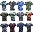 Mens Workout Compression T-shirt Base Layer Short Sleeve Sports Tops Camo Tees