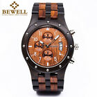Bewell W109D Men Sub-dials Wood Watch Quartz Movement Date Wooden Wrist Watches image