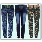 Ladies Shearing Jewel Belted Cuffed Rouched Camouflage Denim & Faded Blue Jeans