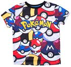 Boys Pokemon All Over Front Print Pokeballs Fashion T-Shirt Top 3 to 12 Years