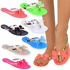 Womens Ladies Toe Bow Diamante Jelly Flat Summer Flip Flop Thong Sandals Size