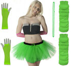 NEW TUTU SKIRT NEON LEGWARMER GLOVES BEADS SET 80S FANCY DRESS HEN PARTY
