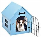 Pet House Crate Small Dog Cat Wooden Kennel Indoor Home Shelter Bed Mat PINK BLU