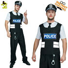 Men Police Costume Adult Carnival Party Cool Policeman&Cop Role Play Fancy Dress
