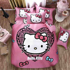 Hello Kitty Hearts Kids Quilt/Doona/Duvet Cover Set Fitted Sheet 100% Cotton