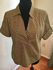 Talbots Women's Stretch Green and White Polka Dot Short Sleeve Top Size 14