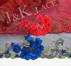 21 cm width Gorgeous Red / Navy Embroidery mesh Lace Trim