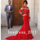 Arabic Red Mermaid Evening Dress Long Sleeves Lace Bridesmaid Elegant Prom Gowns