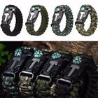 Outdoor Hiking Emergency Paracord Bracelets Fire Starter Compass Whistle MDWK