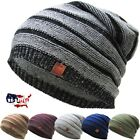 Slouch Beanie Winter Ski Skully Striped Heather Colors