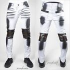 Denim King white jeans, PU leather biker urban g hip hop straight fit jeans
