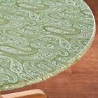 """FITTED Vinyl Table Cover Paisley Oval 42"""" x 68"""" Brown Blue Green ~"""
