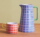 Habitat RIXO Orange Mugs and Matching Blue Jug 1.6l - Brand New