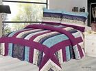 3PC Quilted Embossed Patchwork Vintage Bedspread Comforter Throw 2 Pillow Shams