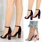 Women Suede EmbroideredThick High-heeled Sandals Flower Rose Printed Shoe Summer