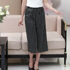 Silk Spandex Women's High Waisted Cropped Wide-leg Pants