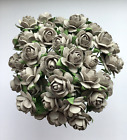 50 GREY MULBERRY PAPER OPEN ROSES/FLOWERS 1cm (10mm) and 1.5cm (15mm)