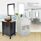 24'' Bathroom Vanity Single Cabinet Top Vessel Ceramic Sink Bath Bowl Faucet Set